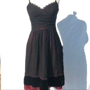 Laundry || Shelli Segal Red and Black Silk Dress 4